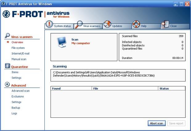 F-Prot Antivirus 6.0.6.3. Удобная программа для защиты компьютера от вирус